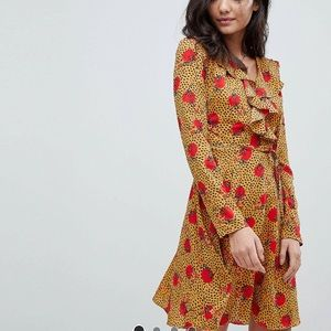 Tea dress with ruffle in leopard floral print ASOS